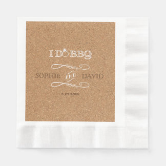 Rustic Burlap I DO BBQ Engagement Party Paper Napkin