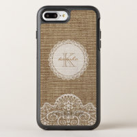 Rustic Burlap Ivory Lace Monogram Name OtterBox Symmetry iPhone 8 Plus/7 Plus Case