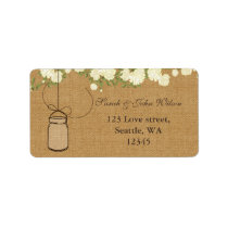 rustic burlap ivory roses mason jar address label