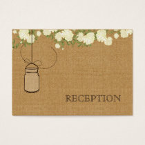 rustic burlap ivory roses mason jars reception business card