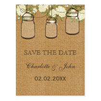 Rustic burlap ivory roses mason jars save dates postcard
