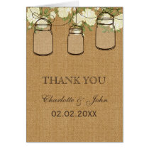 rustic burlap ivory roses mason jars  Thank You Card