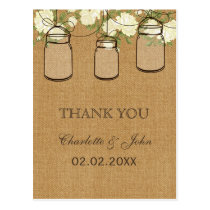 rustic burlap ivory roses mason jars Thank You Postcard