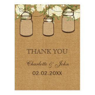 rustic burlap ivory roses mason jars Thank You Postcard