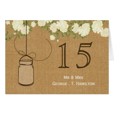 rustic burlap ivory roses table numbers