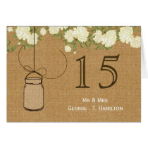 rustic burlap ivory roses table numbers card