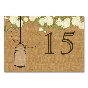 rustic burlap ivory roses wedding table numbers