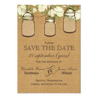 Rustic burlap ivory rosesmason jars save the date card