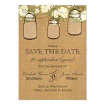Rustic burlap ivory rosesmason jars save the date magnetic card