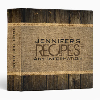 Rustic Burlap Kitchen Cooking Vintage Wood 3 Ring Binder