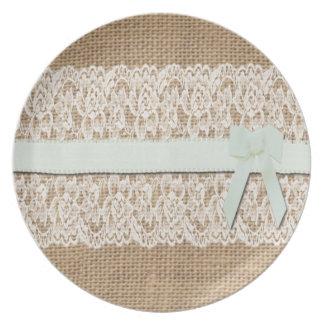 Rustic Burlap, Lace and Ribbon Melamine Plate