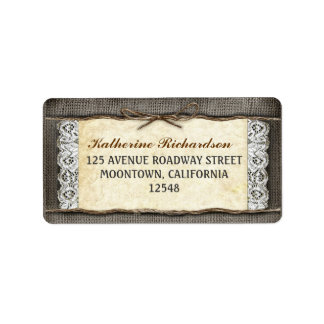 rustic burlap lace and rope ribbon address labels