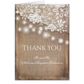 Rustic Burlap Lace and String Lights Thank You Card
