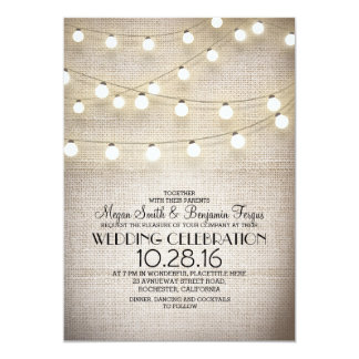 Rustic Burlap Lace and String Lights Wedding Card