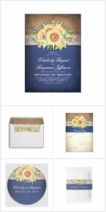 Rustic Burlap Lace and Sunflowers Navy Suite