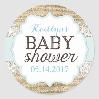 Rustic Burlap Lace Blue Boy Baby Shower Classic Round Sticker