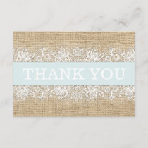 Rustic Burlap Lace Blue Boy Modern Thank You