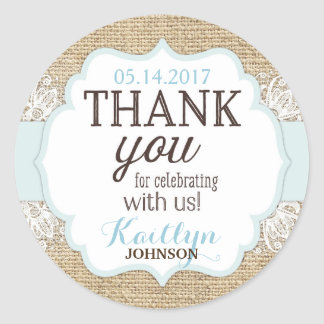 Rustic Burlap Lace Blue Boy Thank You Classic Round Sticker