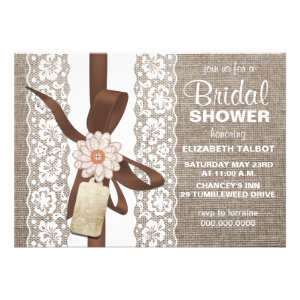 Rustic Burlap & Lace Bridal Shower Invitation