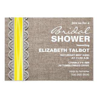 "Rustic Burlap & Lace Bridal Shower Invitation 5"" X 7"" Invitation Card"