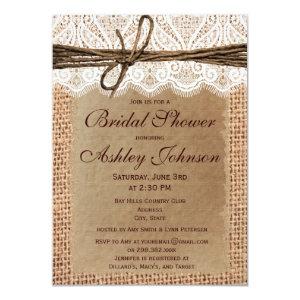 Rustic Burlap Lace Bridal Shower Invitations Custom Invites
