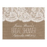 Rustic Burlap & Lace Bridal Shower Recipe Cards