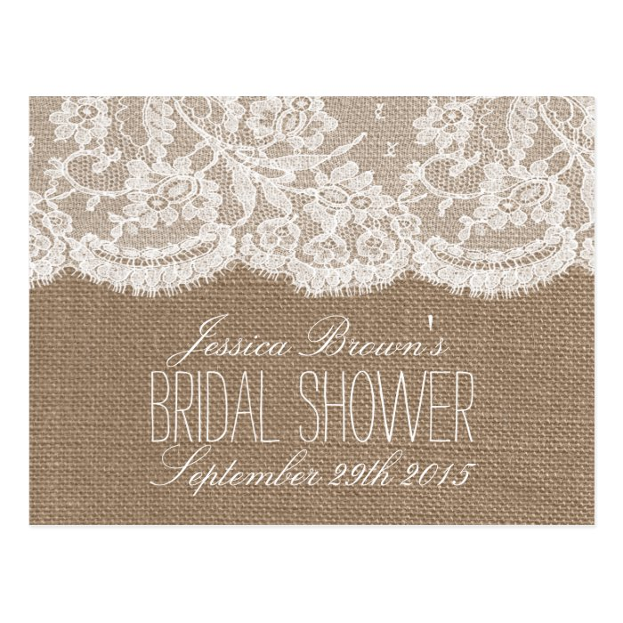 rustic burlap lace bridal shower recipe cards zazzle. Black Bedroom Furniture Sets. Home Design Ideas