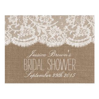 Rustic Burlap & Lace Bridal Shower Recipe Cards Post Card
