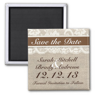 Rustic Burlap Lace Brown Save the Date Magnet
