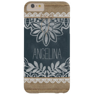 Rustic Burlap Lace Chalkboard Personalized Barely There iPhone 6 Plus Case