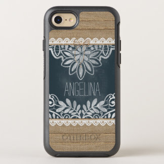 Rustic Burlap Lace Chalkboard Personalized OtterBox Symmetry iPhone 7 Case
