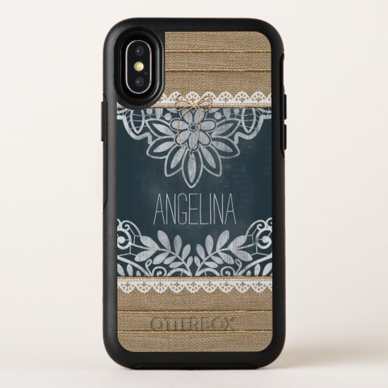 Rustic Burlap Lace Chalkboard Personalized OtterBox Symmetry iPhone X Case