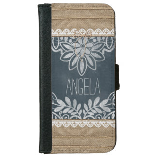 Rustic Burlap Lace Chalkboard Personalized iPhone 6 Wallet Case