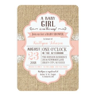 Rustic Burlap Lace Coral Baby Shower Invitation