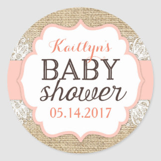 Rustic Burlap Lace Coral Girl Baby Shower Classic Round Sticker
