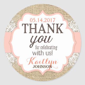 Rustic Burlap Lace Coral Girl Thank You Classic Round Sticker