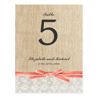 Rustic Burlap Lace Coral Ribbon Table Number Postcard