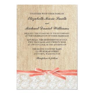 Rustic Burlap Lace Coral Ribbon Wedding 5x7 Paper Invitation Card