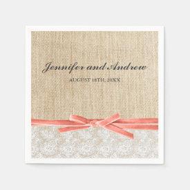 Rustic Burlap Lace Coral Ribbon Wedding Paper Napkin