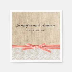 Rustic Burlap Lace Coral Ribbon Wedding Paper Napkin