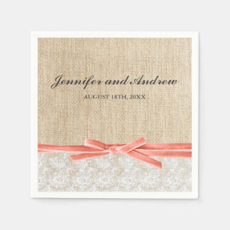 Rustic Burlap Lace Coral Ribbon Wedding Standard Cocktail Napkin