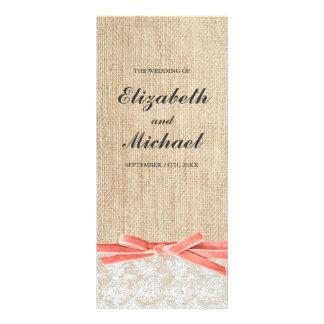 Rustic Burlap Lace Coral Ribbon Wedding Program Personalized Rack Card