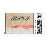 Rustic Burlap Lace Coral Ribbon Wedding RSVP Postage