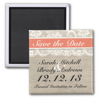 Rustic Burlap Lace Coral Save the Date Magnet