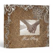 rustic burlap lace country wedding binder