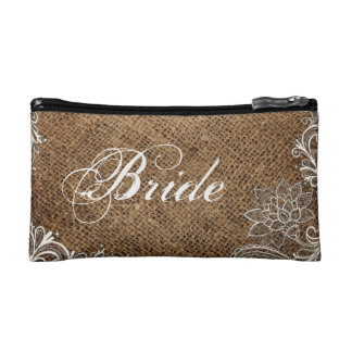 rustic burlap lace country wedding bride makeup bags