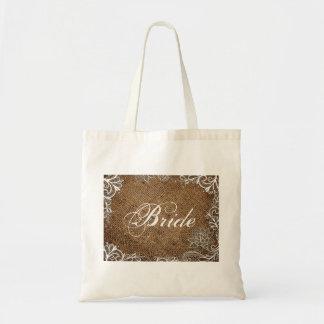 rustic burlap lace country wedding bride tote bag