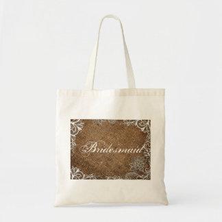 rustic burlap lace country wedding bridesmaid tote bag