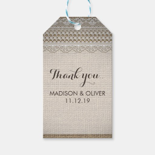 Rustic Burlap Lace Country Wedding Gift Tags Zazzle