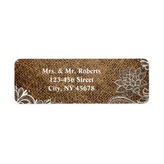 rustic burlap lace country wedding custom return address label